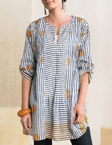 Handprinted blue stripes and marigold overprint on white voile looks so fresh for spring. Tunic length, relaxed fit with pin-tuck details and back tie with chindi flowers add charm. Mode Style, Style Me, Beautiful Outfits, Cool Outfits, Sewing Clothes, Refashion, Dressmaking, What To Wear, Tunic Tops