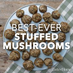 Appetizer Recipes Discover Best-Ever Stuffed Mushrooms At party time I bring out a platter of my easy stuffed mushrooms. I like to make mine with reduced-fat sausage but you can use regular for an indulgent treat. Finger Food Appetizers, Yummy Appetizers, Appetizers For Party, Appetizer Recipes, Snack Recipes, Cooking Recipes, Snacks, Burger Recipes, Easy Recipes