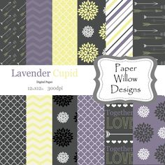 Lavender Cupid-(12)-12x12 Digital Papers-300dpi-Instant Download-Arrows-Dahlia-Floral-Chevron-Grey-Yellow-Purple-White by PaperWillowDesigns on Etsy