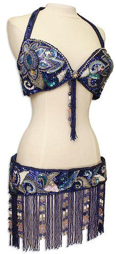 Blue Sequins & Jewels Egyptian Bra & Belt In Stock Belly Dance Costume - At DancingRahana.com