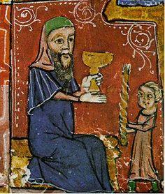 Judío celebrando havdalá, detalle de miniatura del siglo XIV.