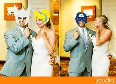 Superhero photobooth props at wedding - photo by Princeton NJ wedding photographers 1314studio.com