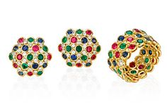 Aaron Henry: Ring and Domed Cushion Ear Clips    18k Yellow Gold Precision-set with  Multi-Colored Sapphires & Rubies  Ring and Ear Clips accented with  Diamonds Burnished in 18k White Gold
