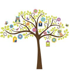 This tree decal is an enchanted scene of woodland whimsy. The tree is a friendly hang out for birds and butterflies, with flowers and colorful birdhouses hanging from the branches. Create a happy scen