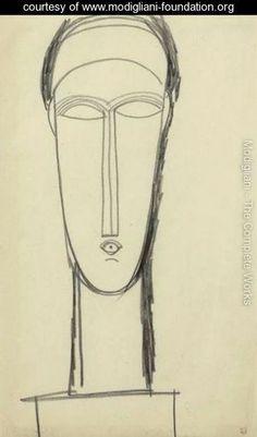 Modigliani - Tete De Face Posee Sur Un Socle
