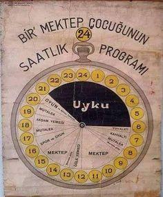 1930 - Bir öğrencinin günlük programını gösteren çalışma ve aktivite çizelgesi.