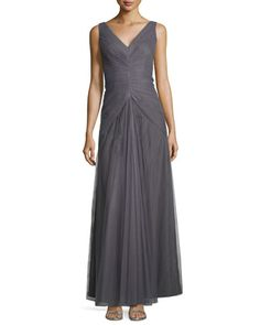 Sleeveless V-Neck Ruched-Bodice Tulle Gown  by Monique Lhuillier Bridesmaids at Neiman Marcus.
