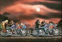 David Mann ''His and Hers'' x Motorcycle Biker Art Motorcycle Posters, Motorcycle Art, Bike Art, Easy Rider, Moto Biker, Biker Wear, Rockabilly, Futuristic Helmet, Cycle Drawing