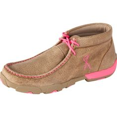 Twisted X Ladies Tough Enough to Wear Pink Driving Mocs Dusty Tan with Pink Accents