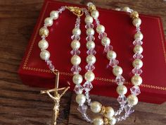 Catholic  crystal Rosary with crystal by WEDDINGLASSOS on Etsy, $40.00