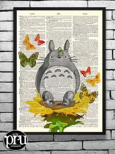 Totoro In The Garden Collage Studio Ghibli Print on an Unframed Upcycled Bookpage Studio Ghibli, Floral Vintage, Hayao Miyazaki, Free Prints, Upcycled Vintage, Anime, Antique Books, How To Draw Hands, Photos