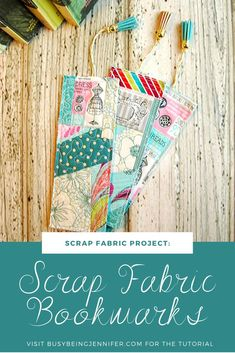 These Scrap Fabric Bookmarks are just so cute! And those tassels add just the right touch! Get the details on how to make your own in this tutorial. Scrap Fabric Projects, Diy Craft Projects, Fabric Scraps, Quilting Projects, Sewing Projects, Project Ideas, Craft Ideas, Crafts To Sell, Easy Crafts