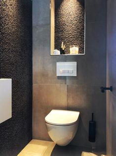Small mosaic.#mosaic #small Bathroom Design Small, Bathroom Interior Design, Modern Bathroom, Modern Toilet Design, Wc Container, Loo Roll Holders, Small Toilet Room, Recessed Toilet Paper Holder, Downstairs Toilet