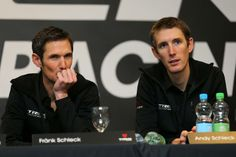Gallery: Trek Factory Racing team presented in Roubaix - Fränk and Andy Schleck at the 2014 Trek team launch