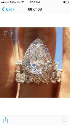 The shape, craftsmanship, and quality of this 3.02ct pear shaped diamond ring is perfection. Visit our website to view our large selection of unique engagement rings.