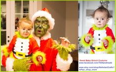 Sweet Baby Grinch outfit, made by Sam Christmas, Baby Grinch costume, Halloween, Dress-up Play