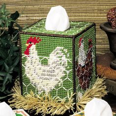 Leisure Arts - Chicken Coop Tissue Box Cover Plastic Canvas Pattern ePattern, $2.99 (http://www.leisurearts.com/products/chicken-coop-tissue-box-cover-plastic-canvas-pattern-digital-download.html)