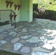Paint Cement Patio Floors to look like Cobblestones - Decorative Faux Craft Tole Painting on Cement and Concrete, Glass Jars, Walls, to Create Rock Homes and Stone Houses in the style of Thomas Kincaide, Thomas Kinkade, Thomas Kincade,