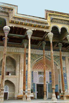 Bolo-Hauz Mosque in Bukhara, Uzbekistan