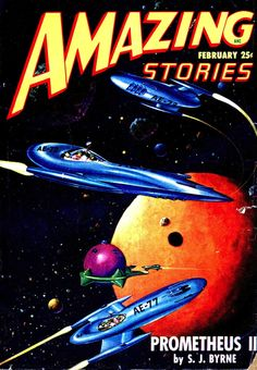 Amazing Stories, February 1948, cover art by Malcolm Smith