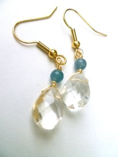 CLEAR FACETED GLASS AND AQUA BLUE HEMIMORPHITE DANGLE BY STUDIOCKH, $9.00