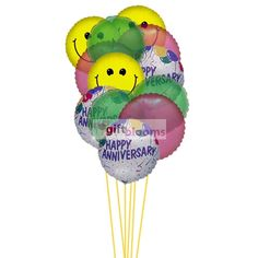 Smiley anniversary balloons - same day balloon gifts delivery   Price:  US$39.99  Send smiley anniversary balloons that can spread happiness in the special day of their life. 6 Mylar & 6 Latex Balloons deliver in this arrangment.