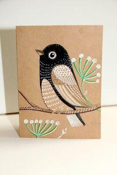 Black and white Bird / Art Card / Miniature Painting / Room Decor / Wall Art /Card with envelope / Folk Art