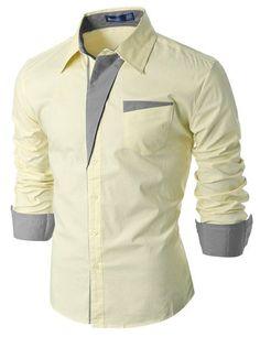 Doublju Mens Slim Fit Cotton Flannel Long Sleeve Button Down Shirts Slim Fit Dress Shirts, Fitted Dress Shirts, Shirt Dress, Flannel Dress, Formal Shirts, Casual Shirts, Moda Men, Mens Designer Shirts, African Shirts