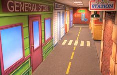 Children's ministry railroad theme walls   One of the main children's hallways at Overlake Church
