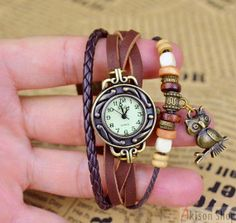 Specials Only  $2.89/pcs Handmade Vintage Leather Band by AkisonShop· Wrist Watch · Buy Link: https://www.akisonshop.com/watch/vintage-leather-bracelet-quartz-wrist-watch-owl-style-S004.html