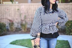 Haute Khuuture Blog, Personal Style, Spring Style, Statement Top, Voluminous Top, Plaid Top, Lantern Sleeve, Distressed Denim, Karen Walker Sunglasses, Mirrored Shades, Charles David Clutch Bag, Charles Jourdan Wedge, Black Wedge, Straw Hat