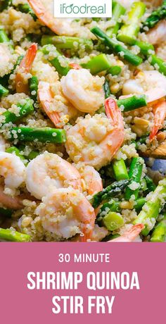 Shrimp, quinoa and asparagus stir fry with fragrant garlic and moderate amount of butter. Delicious 30 minute healthy dinner recipe. #ifoodreal #cleaneating #healthy #recipe #recipes #glutenfree #quinoa #shrimp #seafood #asparagus
