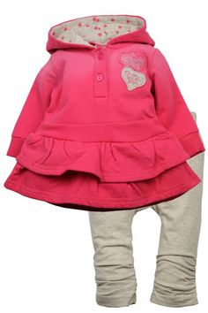 Dirkje babykleding 2 delig setje roze met beige legging Beautiful Bella