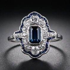 Art Deco Sapphire and Diamond Dinner Ring #saphirering