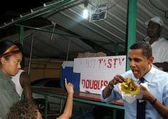 President Obama eating doubles......I luv it!!!! Trinidad and Tobago