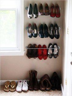 Towel Bar - simple shoe solution: http://www.ivillage.com/think-outside-shoe-box-9-genius-shoe-storage-solutions/7-a-551085