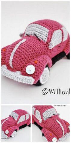 Crochet Car, Crochet Baby Toys, Crochet Crafts, Crochet Projects, Crochet Amigurumi Free Patterns, Free Crochet, Classic Cars, Crocheting, Sewing