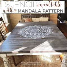 Cutting Edge Stencils Learn how to stencil a wood kitchen table using the Prosperity Mandala Stencil Paint Furniture, Cheap Furniture, Furniture Makeover, Furniture Ideas, Old Kitchen Tables, Dining Room Table, Kitchen Table Makeover, Kitchen Decor, Stenciled Table