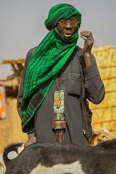 Portrait of a touareg in Gorom Gorom market goats, in the tribal region of the Sahel, northern Burkina Faso