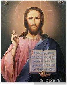 Poster Icône de Jésus-Christ avec Open Bible • Pixers® - Nous vivons pour changer Fabric Wall Art, Canvas Fabric, Canvas Wall Art, Open Bible, Coin Pendant, Wall Murals, Pendants, Abstract, Photography