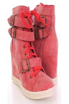 AMIClubwear. Red Faux Leather Lace Up Tie Buckle Strap High Top Sneaker Wedges. for Oswin Oswald costume