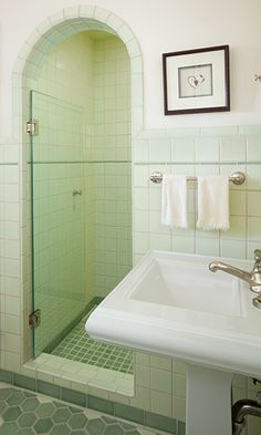 Vitrail Series Odyssey and Celadon glaze in shower at Fireclay Tile, www.fireclaytile.com....square tile not bad...just dont want subway in both...