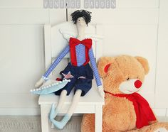 Lalka Duży Marynarz w stylu skandynawskim w Vintage Garden - ręcznie szyte niepowtarzalne lalki na DaWanda.com