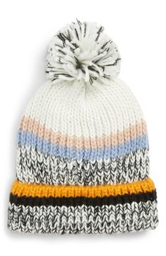 300875329736d Colorful stripes highlight the marled yarns of a soft knit beanie topped  with a fluffy pompom