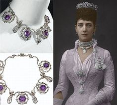 The diamond and amethyst tiara by Cartier (right) and the sapphire and diamond collar were gifts to Queen Alexandra of England from Alexander III of Russia, her sister's husband. Alexandra's eldest daughter, Louise had taken the tiara and a sapphire collar and later passed them to her 2nd daughter Maud of Fife.Maud wore the tiara a few times before selling it at Christie's on June 26,1946 at £1750,the new owner stayed unknown.The necklace (left) was designed to the order of Queen Alexandra.