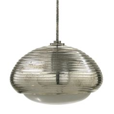 Thomas Stearns; Antiqued Mirrored Glass, Opaline Glass and Silver-Plated Brass 'Silver Tortoise, Version II' Ceiling Light for Venini, c1961.