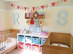 shared nursery toddler room. Love the colors