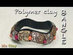 M Easy Polymer Clay wavy Bangle tutorial - DIY Bracelet Easy Polymer Clay, Polymer Clay Bracelet, Fimo Clay, Polymer Clay Projects, Polymer Clay Creations, Polymer Clay Earrings, Bracelet Tutorial, Diy Bracelet, Video Fimo