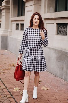 gingham, white booties, bucket bag, valentines outfit, casual dress, black and white outfit #gingham #springfashion
