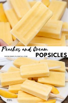 Peaches and cream popsicles are the perfect summer treat for kids and adults. They can be made with fresh or frozen peaches. Store in your freezer for when you want a quick cold treat. | Simply Low Cal @simplylowcal #peachesandcreampopsicles #peachpopsicles #greekyogurtpopsicles #popsiclerecipe #healthypopsicles #simplylowcal Easy Dinner Recipes, Summer Recipes, Snack Recipes, Dessert Recipes, Ww Recipes, Potato Recipes, Vegetable Recipes, Recipies, Cooking Recipes